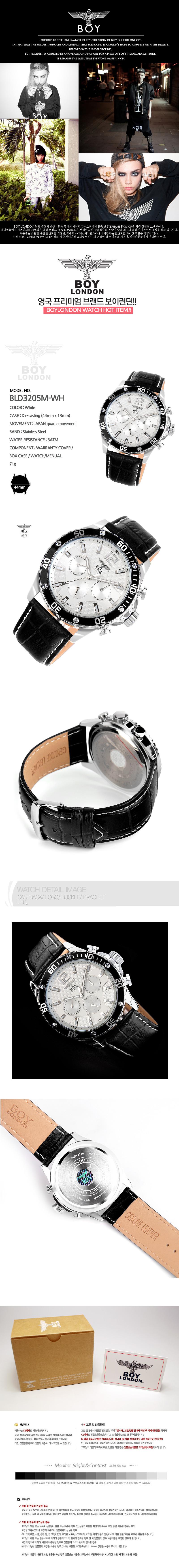 [ BOYLONDON ] BOYLONDON 皮革手表尖晶石刀片3205M-WH